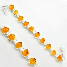 48.62cts yellow citrine rough 925 sterling silver tennis bracelet jewelry r17018