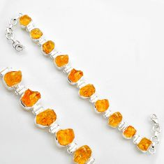 925 sterling silver 46.73cts yellow citrine rough tennis bracelet jewelry r17019