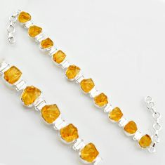 46.22cts yellow citrine rough 925 sterling silver tennis bracelet jewelry r17020