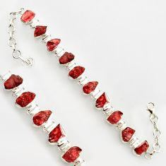 44.80cts natural red garnet rough 925 sterling silver bracelet jewelry r17021