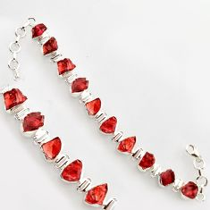 42.99cts natural red garnet rough 925 sterling silver bracelet jewelry r17023