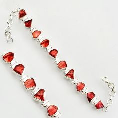 40.20cts natural red garnet rough 925 sterling silver bracelet jewelry r17024