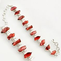49.15cts natural red garnet rough 925 sterling silver bracelet jewelry r17025