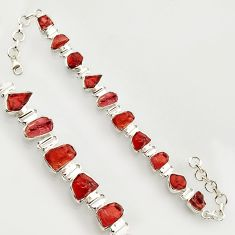 39.17cts natural red garnet rough 925 sterling silver bracelet jewelry r17026