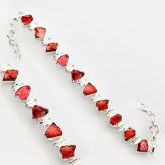 36.26cts natural red garnet rough 925 sterling silver bracelet jewelry r17028