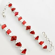 42.48cts natural red garnet rough 925 sterling silver bracelet jewelry r17029