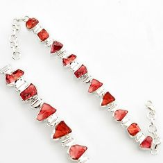 41.15cts natural red garnet rough 925 sterling silver bracelet jewelry r17030