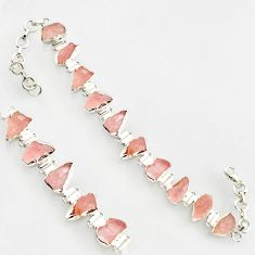 39.70cts natural pink morganite rough 925 sterling silver bracelet r17031