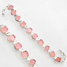 45.67cts natural pink morganite rough 925 sterling silver bracelet r17032