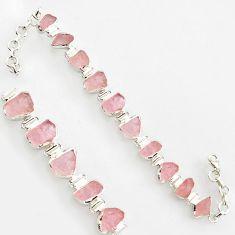 41.42cts natural pink morganite rough 925 sterling silver bracelet r17034