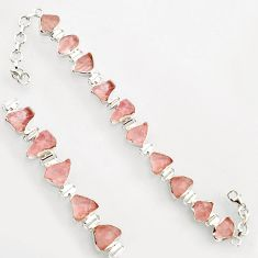 39.70cts natural pink morganite rough 925 sterling silver bracelet r17035