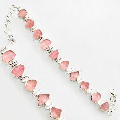 38.39cts natural pink morganite rough 925 sterling silver bracelet r17036
