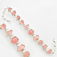 38.36cts natural pink morganite rough 925 sterling silver bracelet r17037