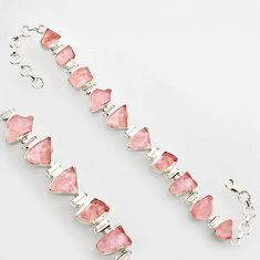 43.45cts natural pink morganite rough 925 sterling silver bracelet r17038