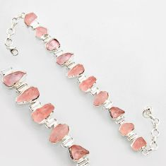 40.20cts natural pink morganite rough 925 sterling silver bracelet r17039