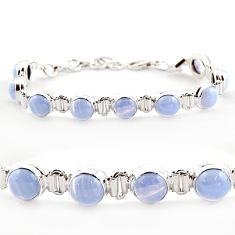 28.71cts natural blue lace agate 925 sterling silver tennis bracelet r17841