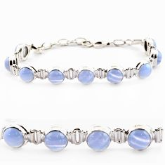 28.68cts natural blue lace agate 925 sterling silver tennis bracelet r17842