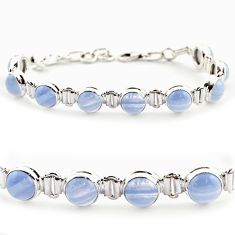 925 silver 28.95cts natural blue lace agate round tennis bracelet r17843