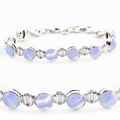 28.61cts natural blue lace agate 925 sterling silver tennis bracelet r17844