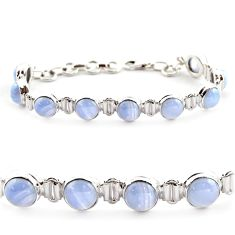 28.37cts natural blue lace agate 925 sterling silver tennis bracelet r17845