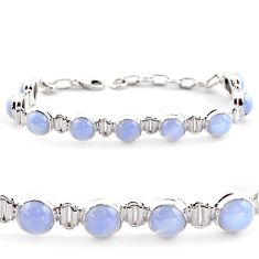 925 sterling silver 29.34cts natural blue lace agate tennis bracelet r17847