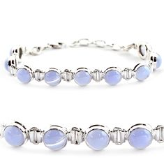 29.34cts natural blue lace agate 925 sterling silver tennis bracelet r17848