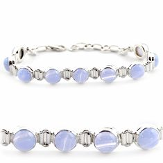 28.95cts natural blue lace agate 925 sterling silver tennis bracelet r17849