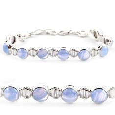 29.32cts natural blue lace agate 925 sterling silver tennis bracelet r17850