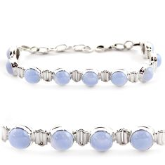 925 sterling silver 29.34cts natural blue lace agate tennis bracelet r17851