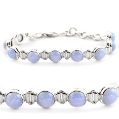 28.95cts natural blue lace agate 925 sterling silver tennis bracelet r17852