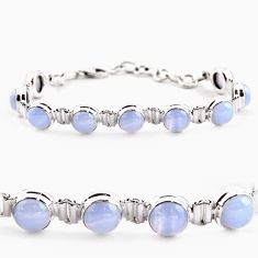28.37cts natural blue lace agate 925 sterling silver tennis bracelet r17853