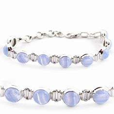 28.68cts natural blue lace agate 925 sterling silver tennis bracelet r17854