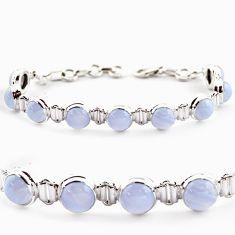 925 silver 28.93cts natural blue lace agate round shape tennis bracelet r17855