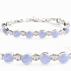 29.72cts natural blue lace agate 925 sterling silver tennis bracelet r17856