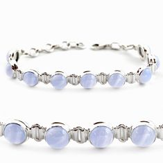 28.95cts natural blue lace agate 925 sterling silver tennis bracelet r17857