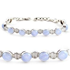 29.34cts natural blue lace agate 925 sterling silver tennis bracelet r17858