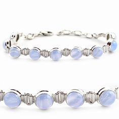 925 sterling silver 29.34cts natural blue lace agate tennis bracelet r17859