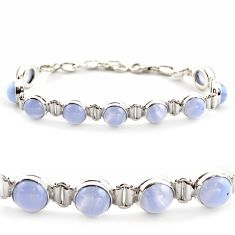 28.95cts natural blue lace agate 925 sterling silver tennis bracelet r17860