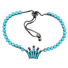 Adjustable blue turquoise 925 silver crown bracelet c16987