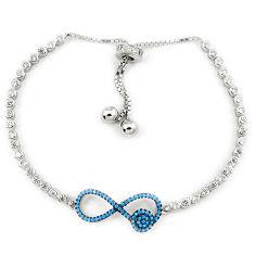 Adjustable blue turquoise topaz 925 sterling silver bracelet c17021