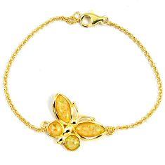 2.85cts australian opal (lab) 925 sterling silver gold bracelet a61982 c15485