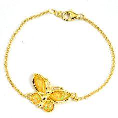 2.85cts australian opal (lab) 925 sterling silver gold bracelet a61985 c15482