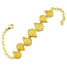 7.82cts australian opal (lab) sterling silver 14k gold bracelet a61995 c15461