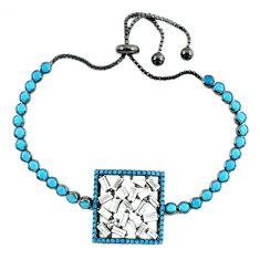 Black rhodium bracelet turquoise gemstone white topaz free size c17000