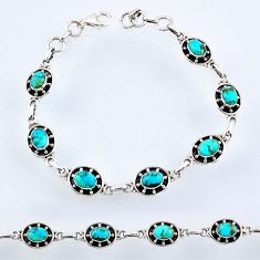 11.38cts blue arizona mohave turquoise 925 silver tennis bracelet jewelry r55038