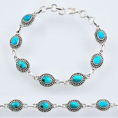 10.13cts blue arizona mohave turquoise 925 silver tennis bracelet r54938