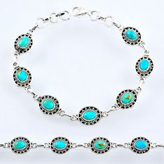 10.36cts blue arizona mohave turquoise 925 silver tennis bracelet r54976