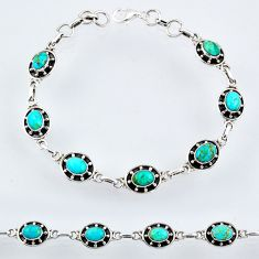 11.62cts blue arizona mohave turquoise 925 silver tennis bracelet r55036