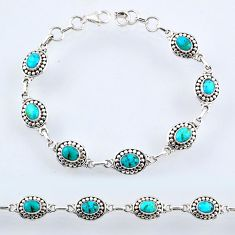 9.34cts blue arizona mohave turquoise 925 sterling silver tennis bracelet r54936
