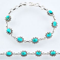 9.57cts blue arizona mohave turquoise 925 sterling silver tennis bracelet r54977